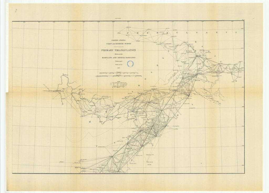 18 x 24 inch 1879 US old nautical map drawing chart of Primary Triangulation Between the Maryland and Georgia Base-Lines, Northern Part From  US Coast & Geodetic Survey x992