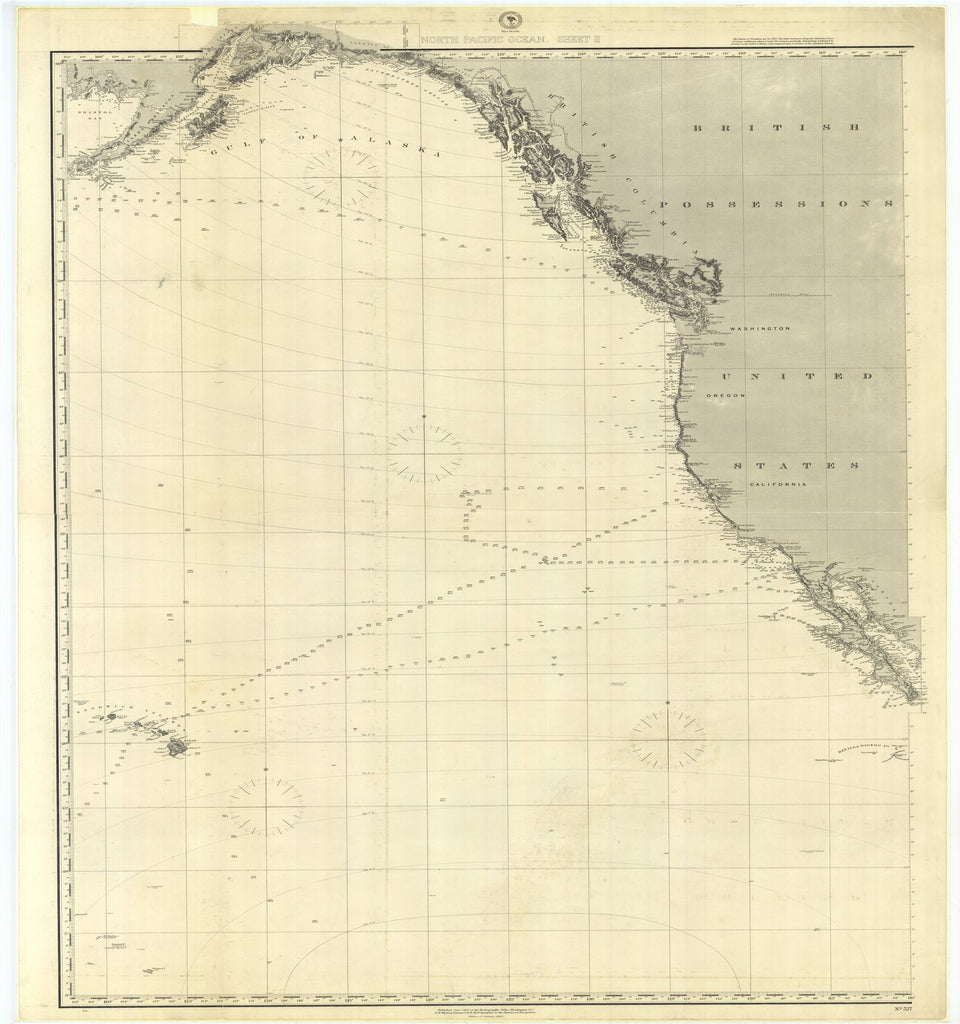 18 x 24 inch 1886 US old nautical map drawing chart of North Pacific Ocean Sheet 2 From  US Navy x1211