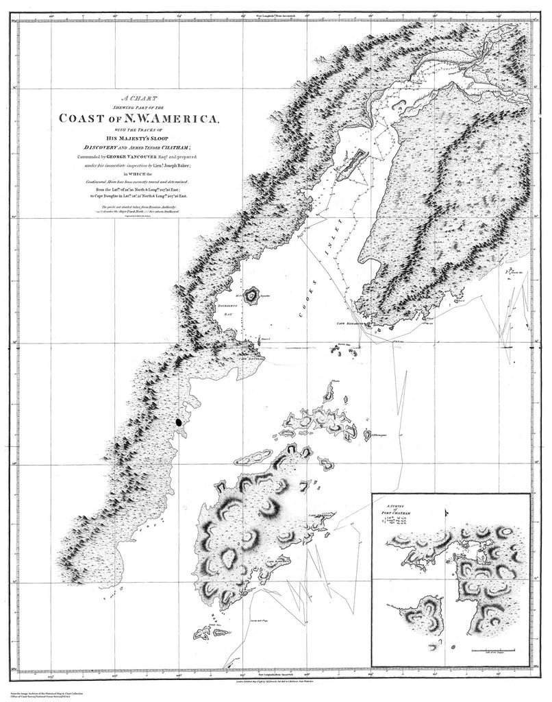 18 x 24 inch 1798 Alaska old nautical map drawing chart of Chart Shewing part of the Coast of N.W. America - by George Vancouver From  U.S. Coast Survey x12178