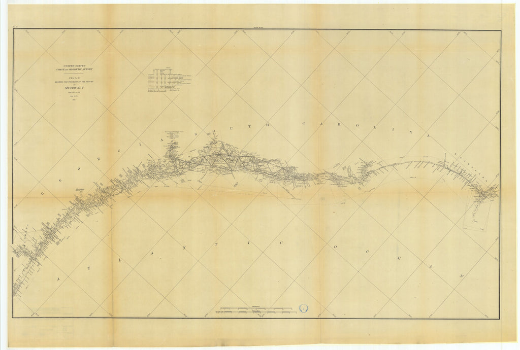 18 x 24 inch 1879 US old nautical map drawing chart of Sketch Showing the Progress of the Survey in Section #5 from 1847 to 1879 From  US Coast & Geodetic Survey x961
