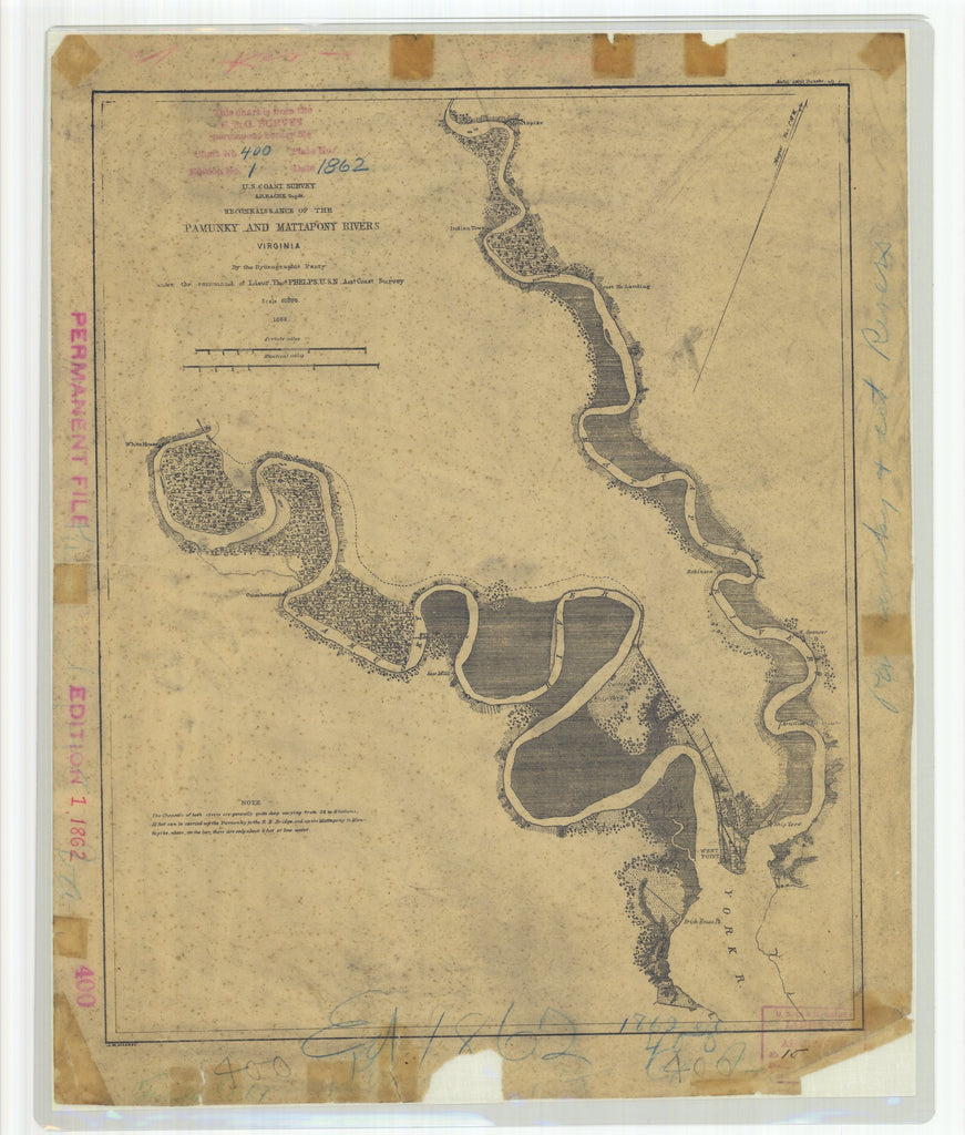 18 x 24 inch 1862 Virginia old nautical map drawing chart of Reconnaissance of the Pamuky and Mattapony Rivers From  U.S. Coast Survey x8687