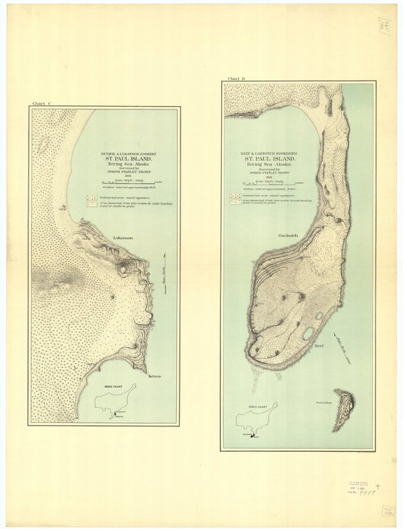 18 x 24 inch 1891 US old nautical map drawing chart of Saint Paul Island : Ketavie and Lukannon Rookery, Reef and Garbotch Rookeries Saint Paul Island From  US Coast & Geodetic Survey x214