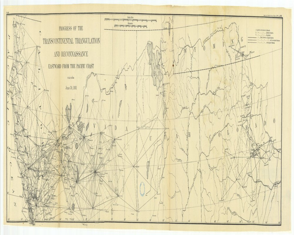18 x 24 inch 1881 US old nautical map drawing chart of Progress of the Transcontinental Triangulation and Reconnaissance Eastward from the Pacific Coast From  US Coast & Geodetic Survey x130