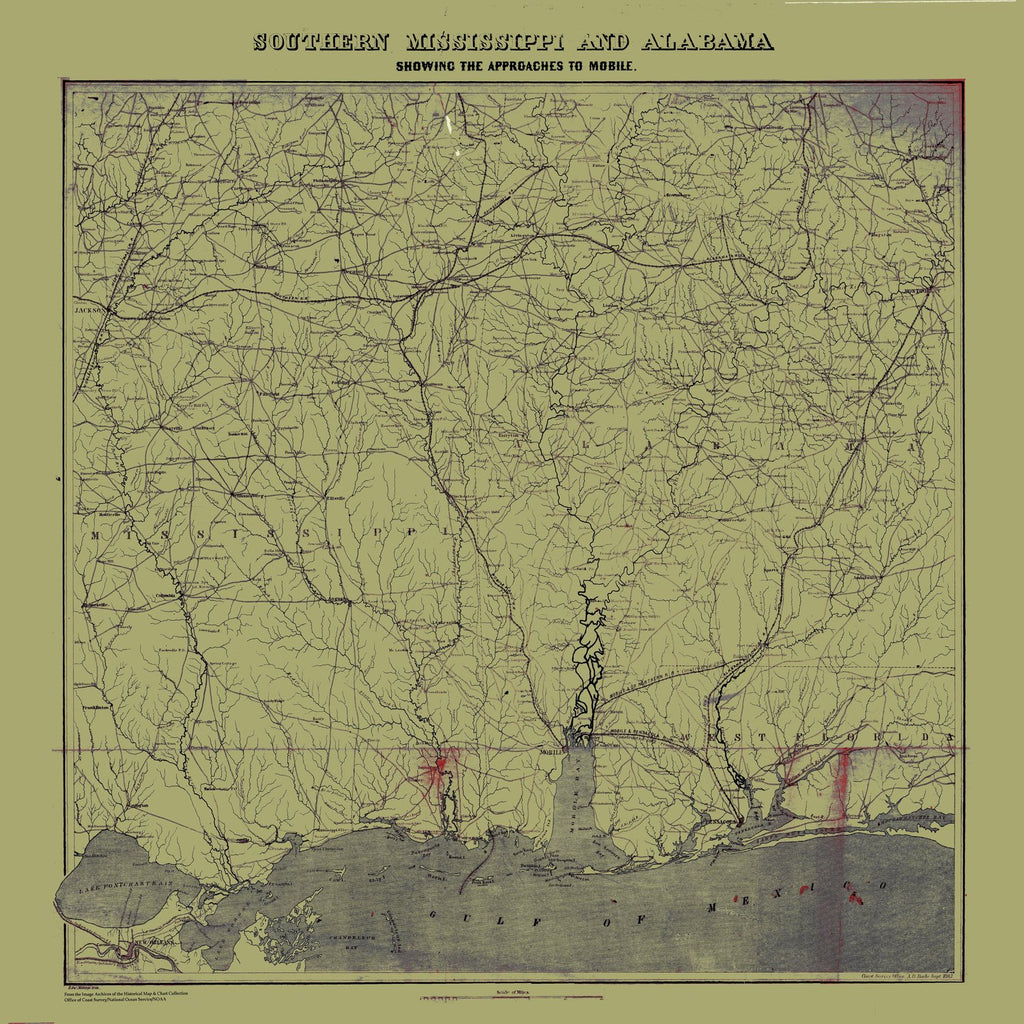 18 x 24 inch 1863 Mississippi old nautical map drawing chart of Southern Mississippi and Alabama - 1863 From  NOAA x6400