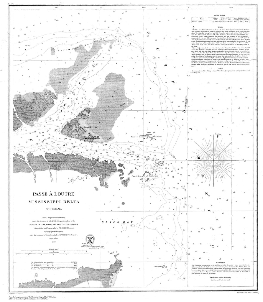 18 x 24 inch 1860 US old nautical map drawing chart of Navigation Chart of Passe A Loutre, Mississippi River Delta From  U.S. Coast Survey x2025