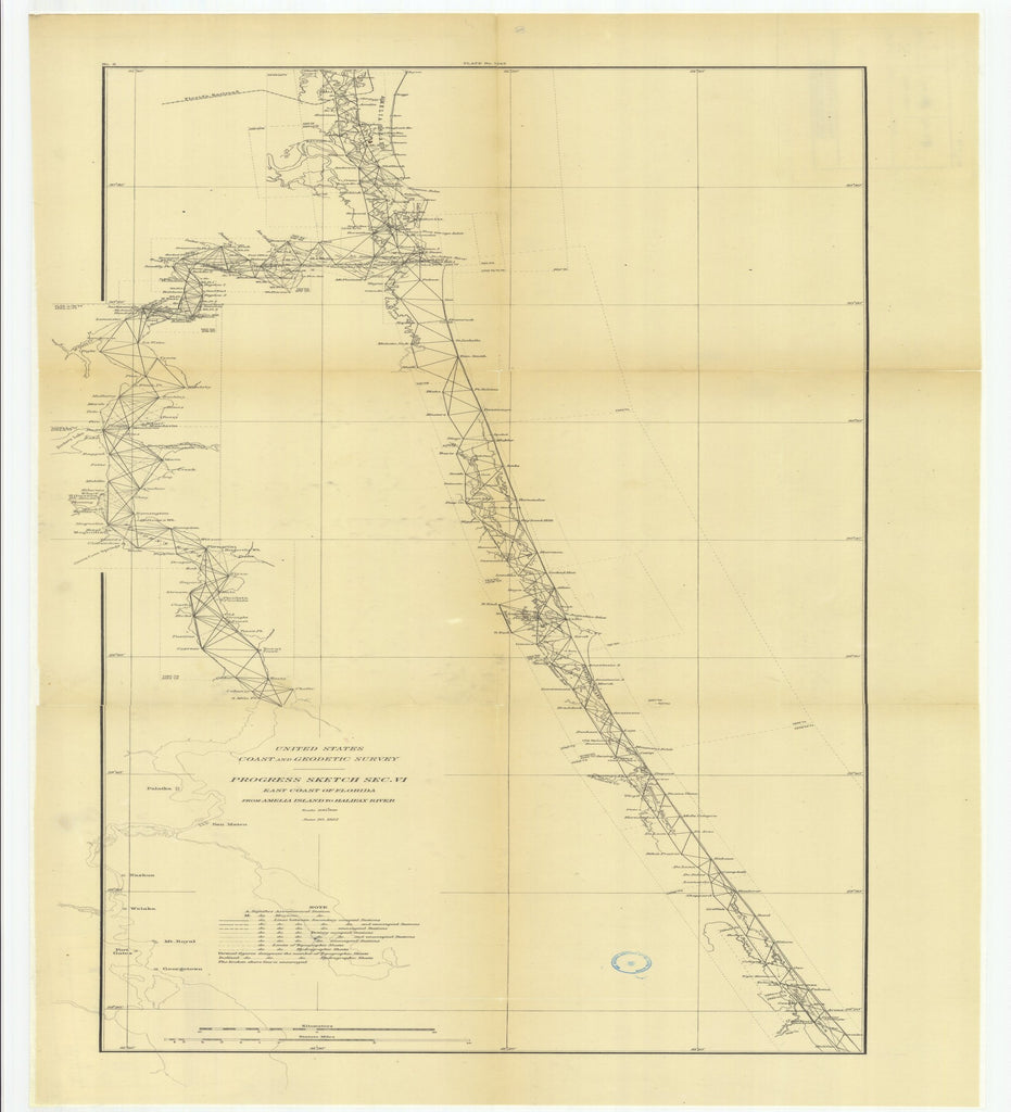 18 x 24 inch 1882 US old nautical map drawing chart of Progress Sketch, Section 6, East Coast of Florida from Amelia Island to Halifax River From  US Coast & Geodetic Survey x2556