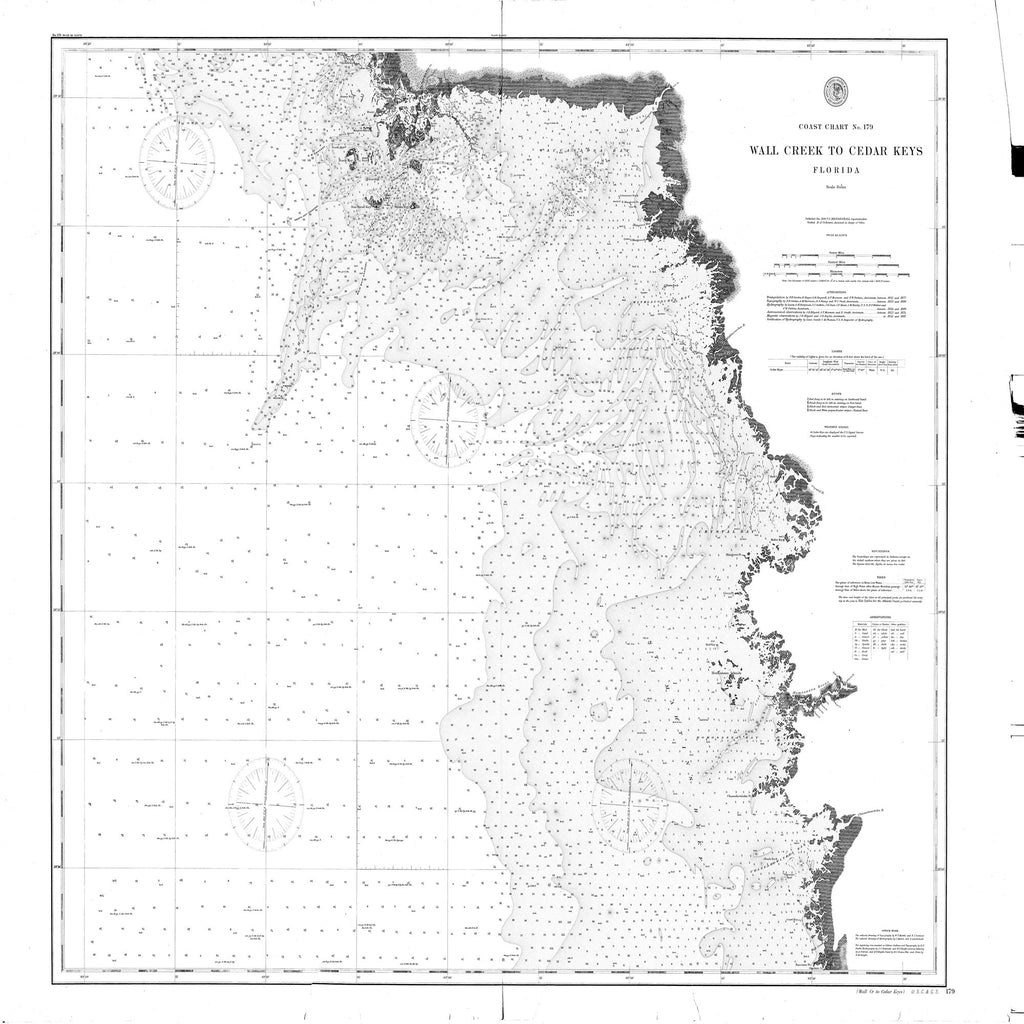 18 x 24 inch 1890 US old nautical map drawing chart of Wall Creek to Cedar Keys From  NOAA x2451