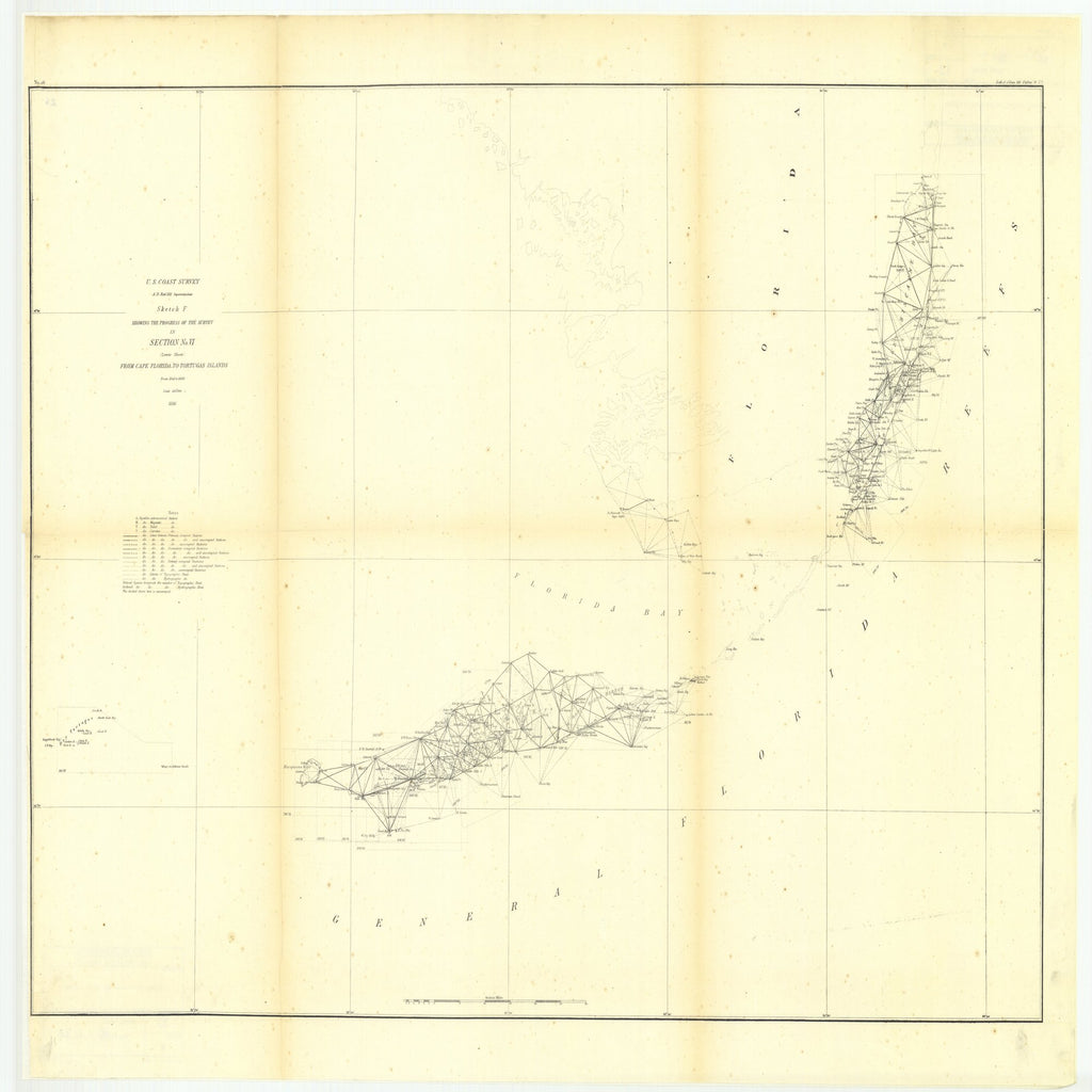 18 x 24 inch 1856 US old nautical map drawing chart of Sketch F Showing the Progress of the Survey in Section Number 6, Lower Sheet from Cape Florida to Tortugas Islands from 1845 to 1856 From  U.S. Coast Survey x2588