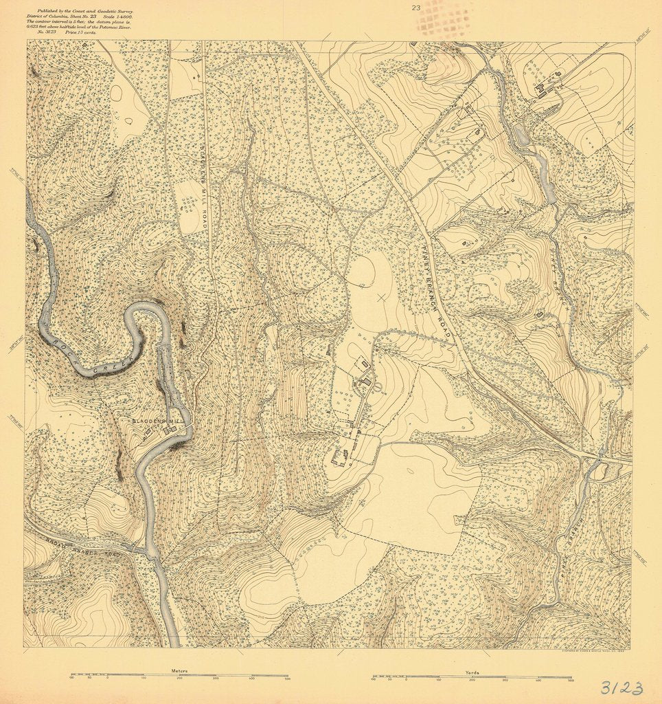 18 x 24 inch 1892 US old nautical map drawing chart of PINEY BRANCH ROAD From  US Coast & Geodetic Survey x412