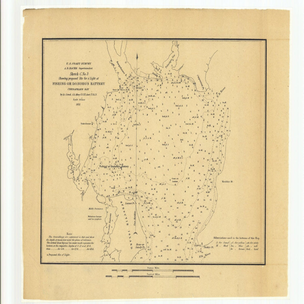 18 x 24 inch 1851 US old nautical map drawing chart of Sketch C Number 3 Showing Proposed Site for a Light at Fishing or Donoho's Battery Chesapeake Bay From  U.S. Coast Survey x3556