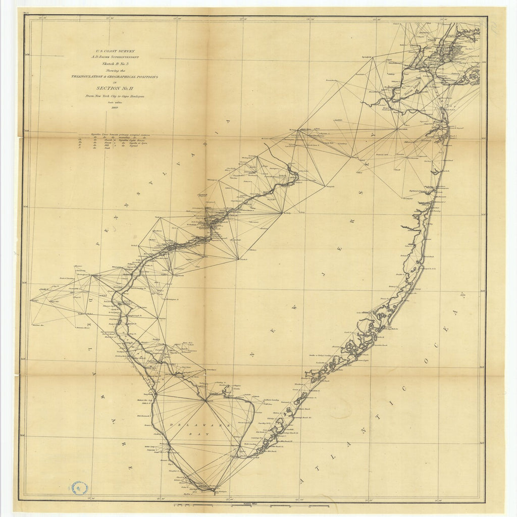 18 x 24 inch 1869 US old nautical map drawing chart of Sketch B Number 3 Showing the Triangulation and Geographical Positions in Section Number 2 from New York City to Cape Henlopen From  U.S. Coast Survey x1919