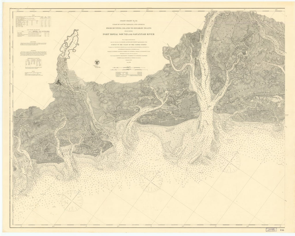 18 x 24 inch 1873 US old nautical map drawing chart of COAST OF SOUTH CAROLINA AND GEORGIA FROM HUNTING ISLAND TO OSSABAW ISLAND INCLUDING PORT ROYAL SOUND AND SAVANNAH RIVER From  US Coast & Geodetic Survey x588