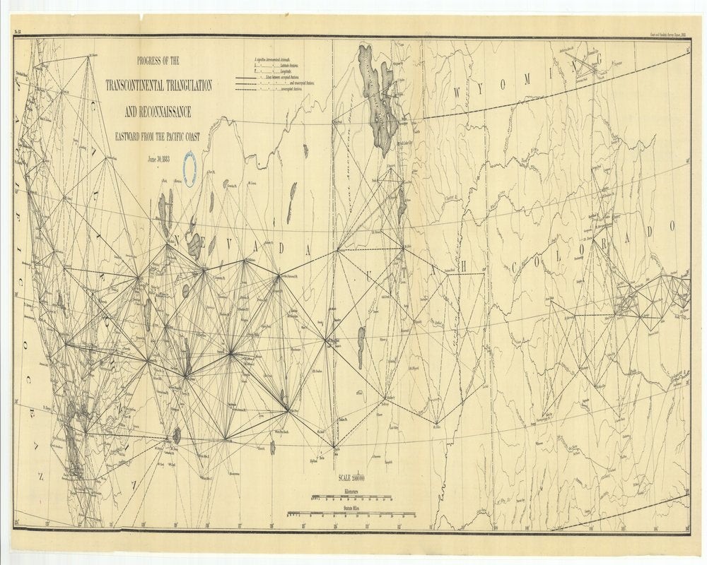 18 x 24 inch 1883 US old nautical map drawing chart of Progress of the Transcontinental Triangulation and Reconnaissance Eastward from the Pacific Coast From  US Coast & Geodetic Survey x132