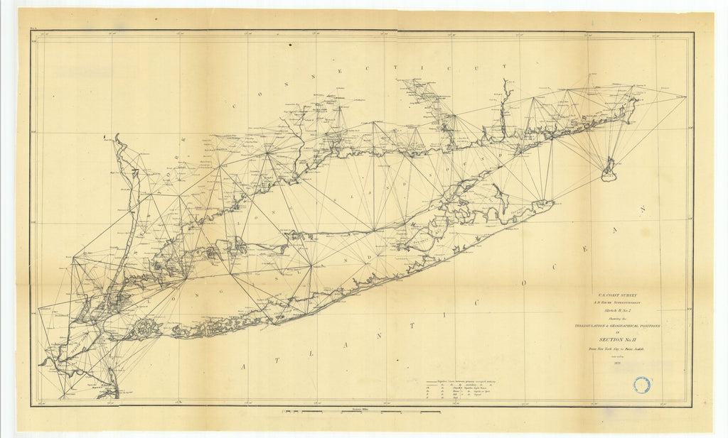 18 x 24 inch 1873 New York old nautical map drawing chart of Sketch B Number 2 Showing the Triangulation and Geographical Positions in Section Number 2 from New York City to Point Judith From  U.S. Coast Survey x7684