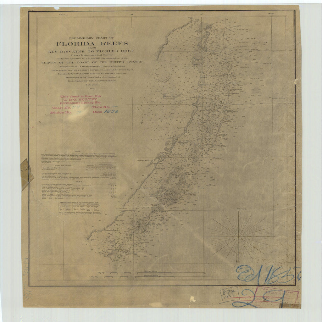 18 x 24 inch 1856 US old nautical map drawing chart of Preliminary Chart of Florida Reefs from Key Biscayne to Pickles Reef From  U.S. Coast Survey x2523
