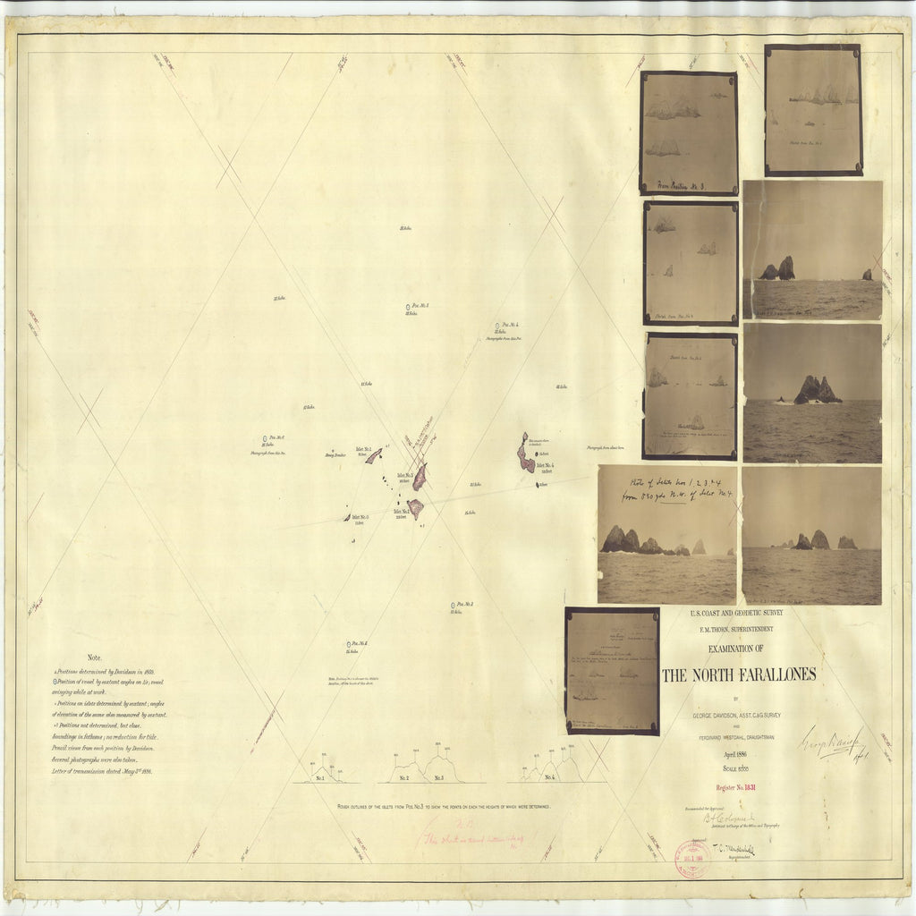 18 x 24 inch 1886 OTHER old nautical map drawing chart of Examination of the North Farallones From  US Coast & Geodetic Survey x7278