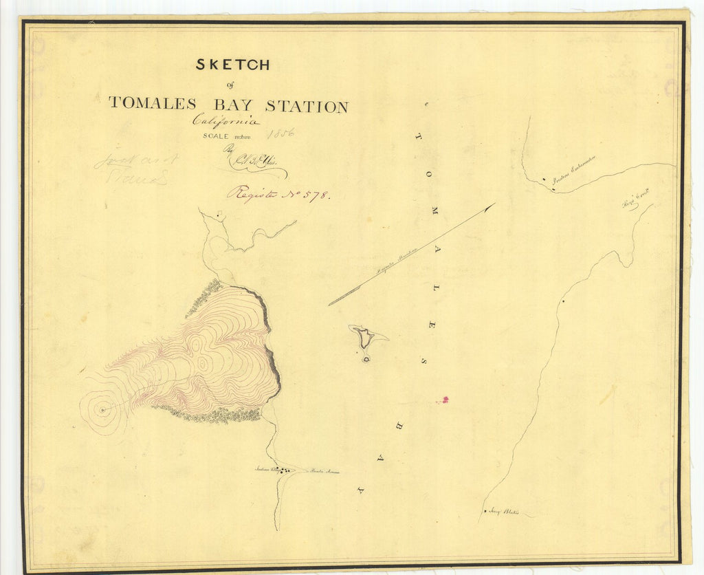 18 x 24 inch 1856 US old nautical map drawing chart of Sketch of Tomales Bay Station From  U.S. Coast Survey x1659