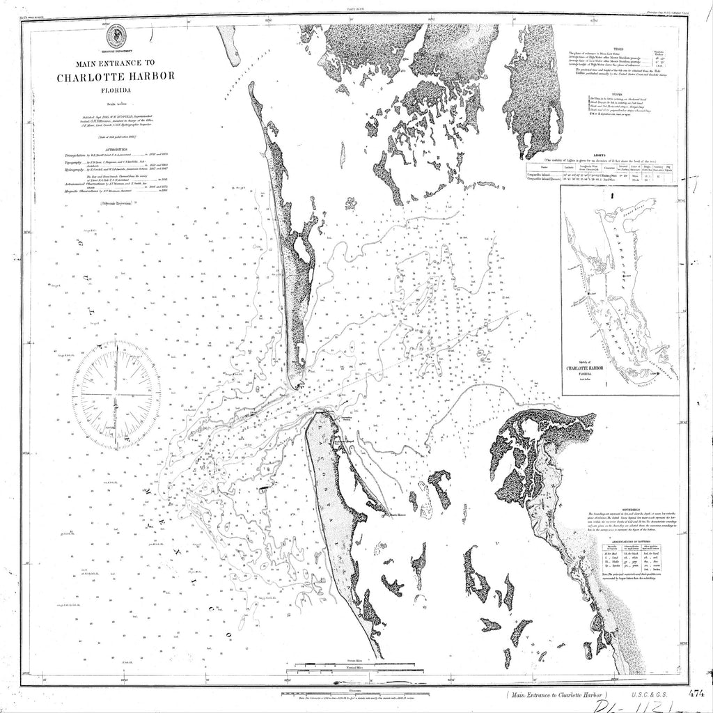 18 x 24 inch 1868 US old nautical map drawing chart of Navigation Chart to the Main Entrance to Charlotte Harbor From  C&GS x1722