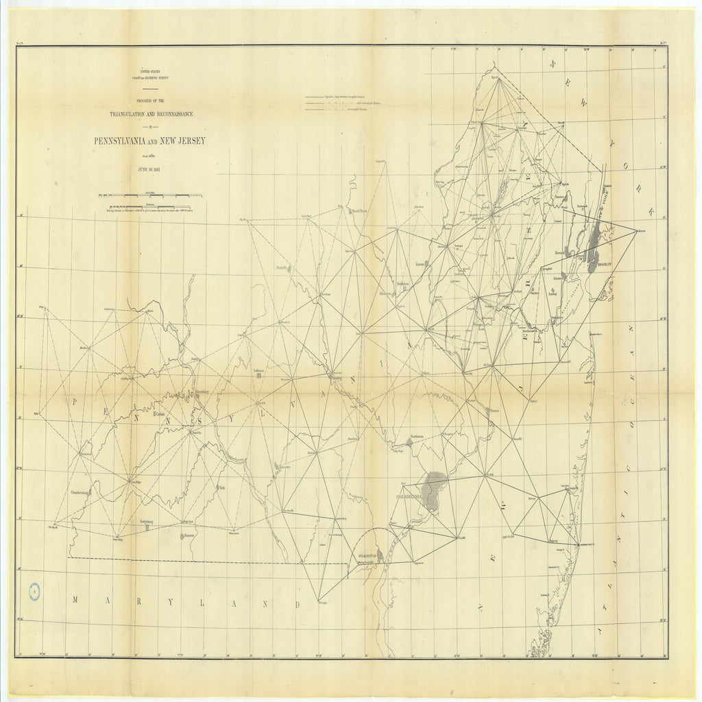 18 x 24 inch 1881 New Jersey old nautical map drawing chart of Progress of the Triangulation and Reconnaissance in Pennsylvania and New Jersey From  US Coast & Geodetic Survey x6674