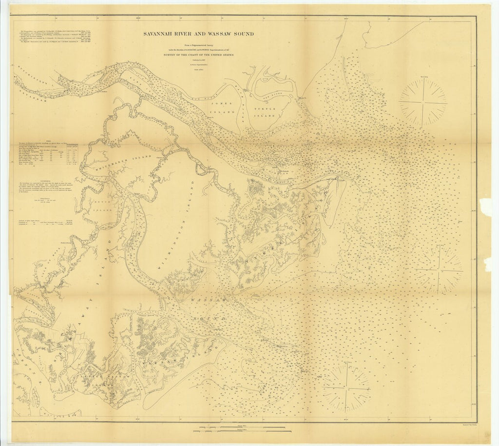 18 x 24 inch 1867 US old nautical map drawing chart of Savannah River and Wassaw Sound From  U.S. Coast Survey x559