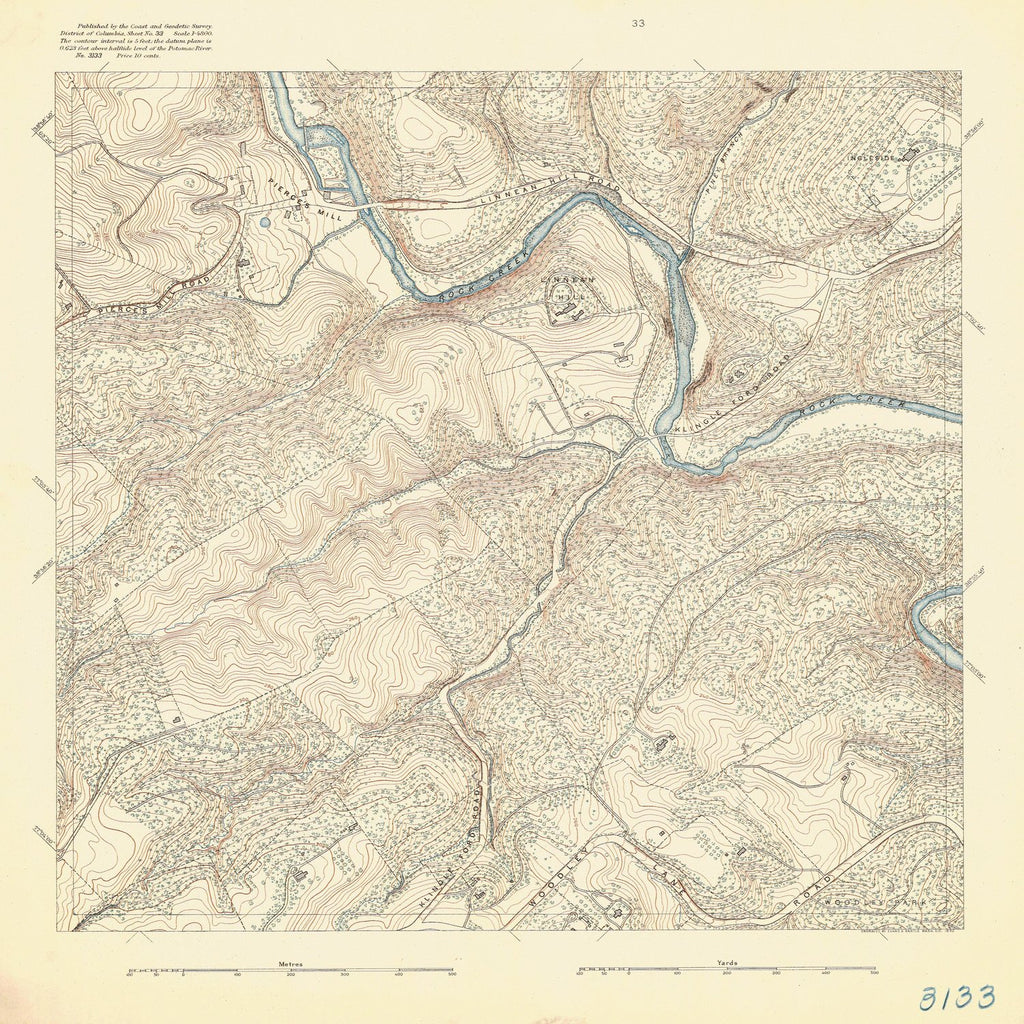 18 x 24 inch 1892 US old nautical map drawing chart of PIERCES MILL From  US Coast & Geodetic Survey x1119