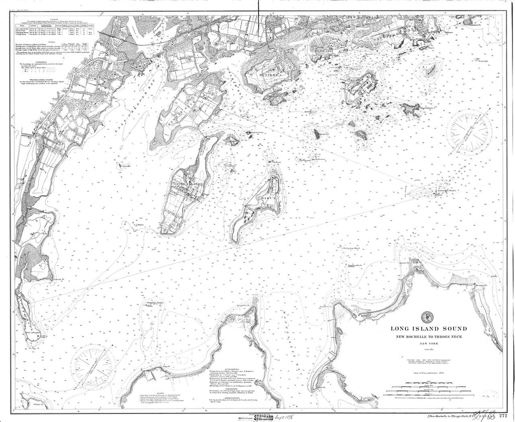 18 x 24 inch 1896 New York old nautical map drawing chart of Long Island Sound : New Rochelle to Throgs Neck From  NOAA x6872