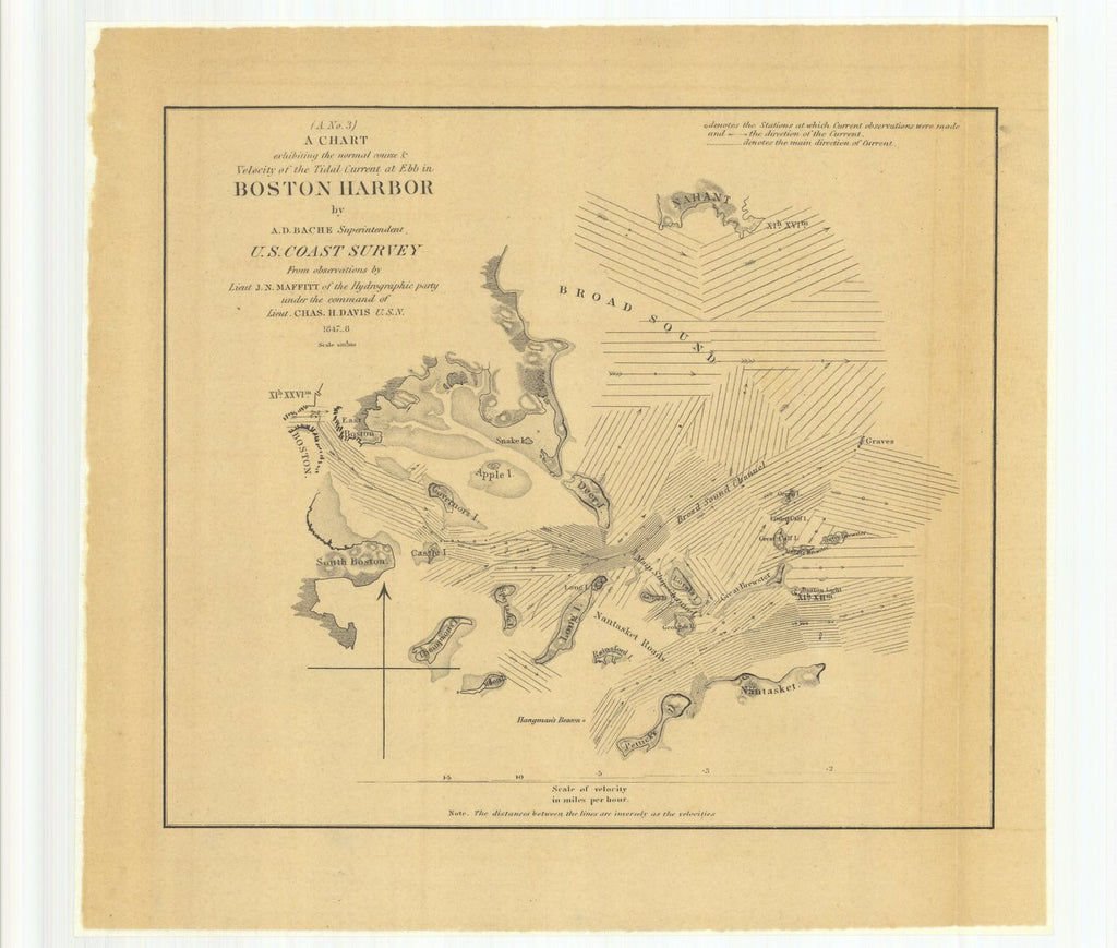 18 x 24 inch 1848 US old nautical map drawing chart of A Chart Exhibiting the Normal Course and Velocity of the Tidal Current at Ebb in Boston Harbor From  U.S. Coast Survey x3907