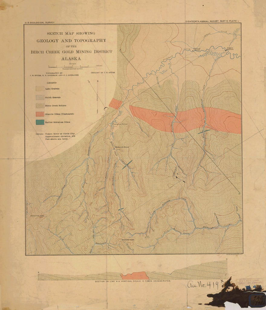 18 x 24 inch 1898 US old nautical map drawing chart of SKETCH MAP SHOWING GEOLOGY AND TOPOGRAPHY OF THE BIRCH CREEK GOLD MINING DISTRICT From  NOAA x2182