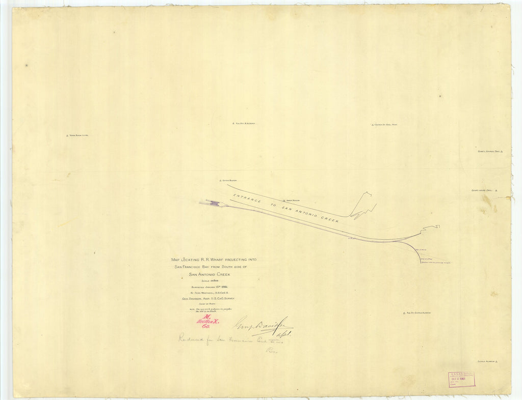 18 x 24 inch 1884 US old nautical map drawing chart of San Francisco Bay from South Side of San Antonio Creek, CA From  US Coast & Geodetic Survey x2444