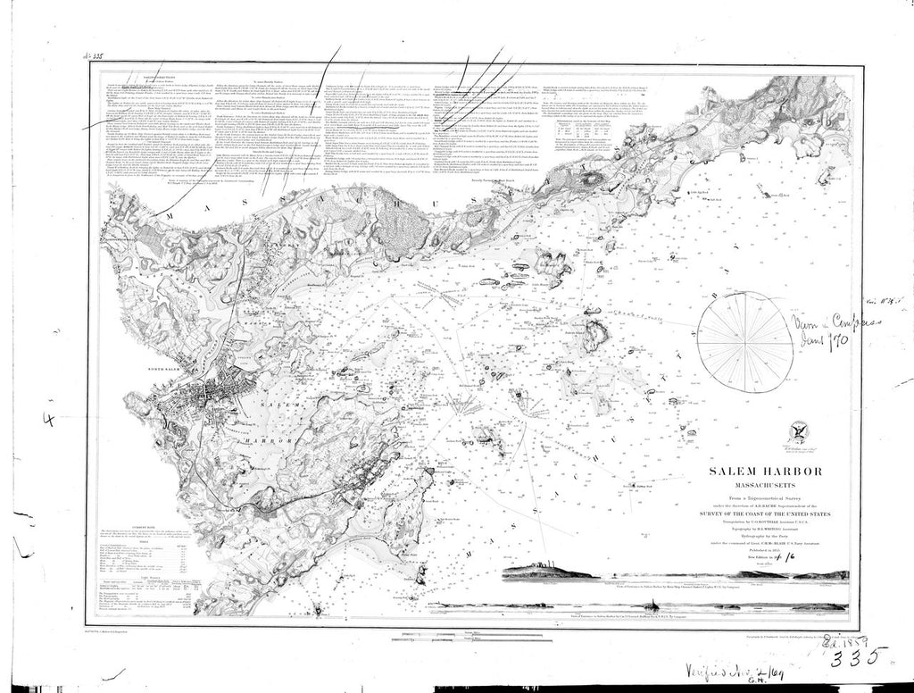 18 x 24 inch 1859 US old nautical map drawing chart of Salem Harbor From  U.S. Coast Survey x2780