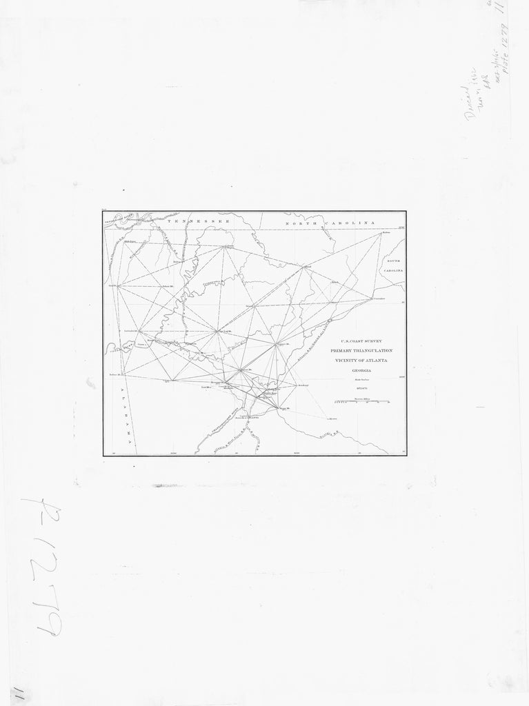18 x 24 inch 1872 US old nautical map drawing chart of PRIMARY TRIANGULATION VICINITY OF ATLANTA From  U.S. Coast Survey x954