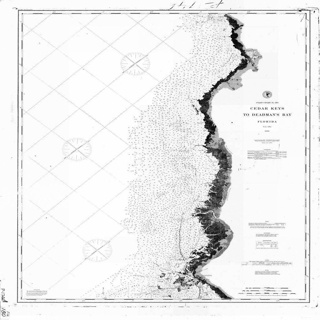 18 x 24 inch 1886 US old nautical map drawing chart of CEDAR KEYS TO DEADMANS BAY From  C&GS x2131