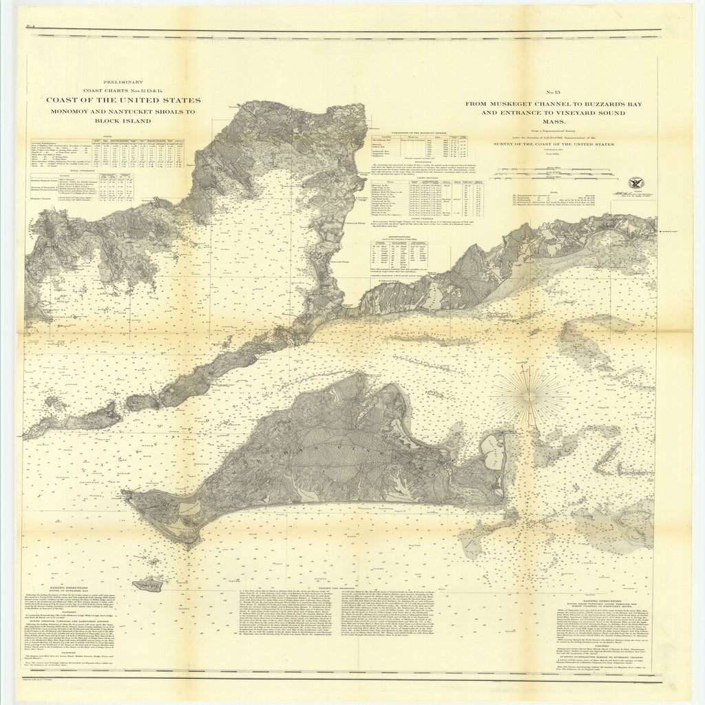 18 x 24 inch 1860 Rhode  Island old nautical map drawing chart of Preliminary Coast Charts, Numbers 12, 13 and 14, Coast of the United States, Monomoy and Nantucket Shoals to Block Island From  U.S. Coast Survey x8096