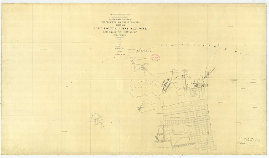 18 x 24 inch 1882 US old nautical map drawing chart of Fort Point to Point San Jose, CA From  US Coast & Geodetic Survey x2437