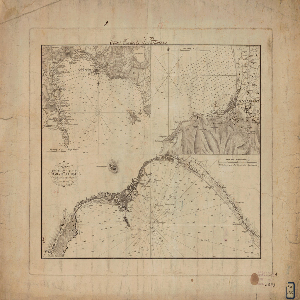 18 x 24 inch 1830 OTHER old nautical map drawing chart of RADA DI NAPOLI From  NOAA x7295