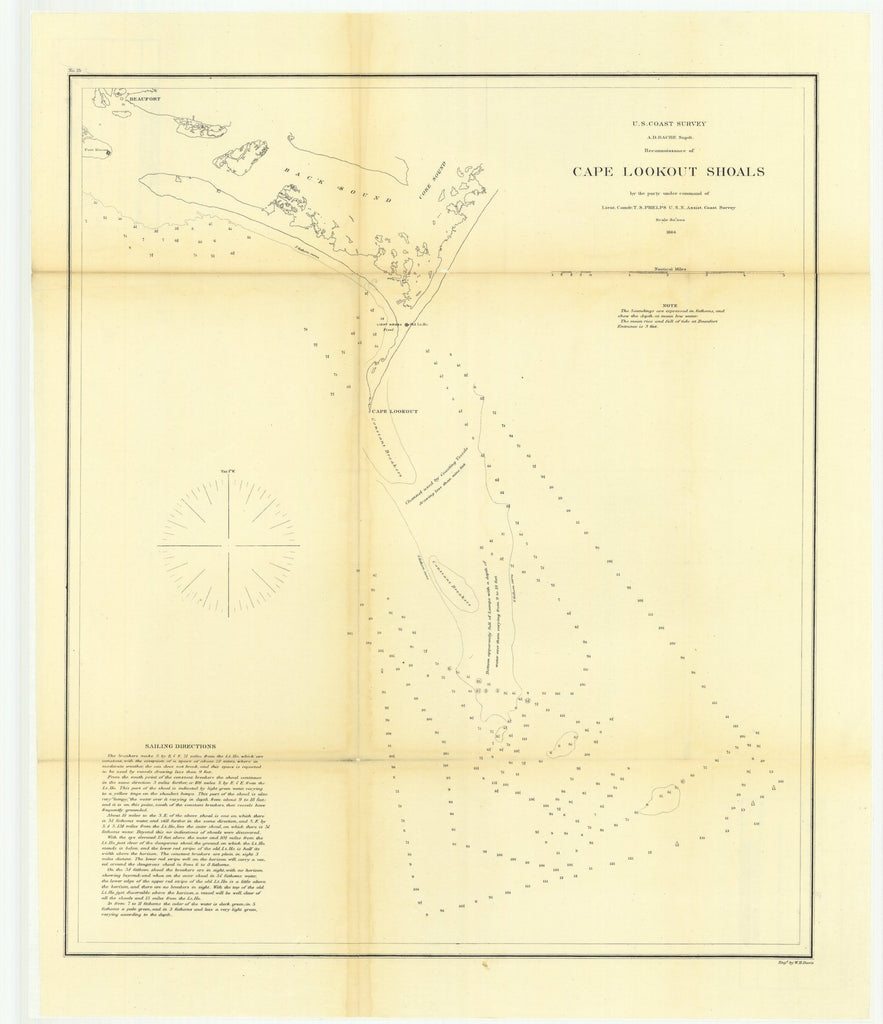 18 x 24 inch 1864 North Carolina old nautical map drawing chart of Reconnaissance of Cape Lookout Shoals From  U.S. Coast Survey x6552