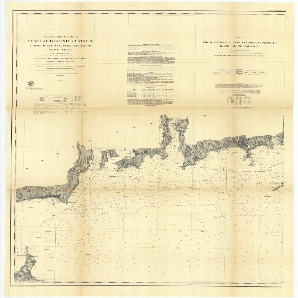 18 x 24 inch 1860 Rhode  Island old nautical map drawing chart of Coast of the United States, Number 13 from Entrance to Buzzard's Bay, Massachusetts to Block Island Sound, Rhode Island From  U.S. Coast Survey x8095