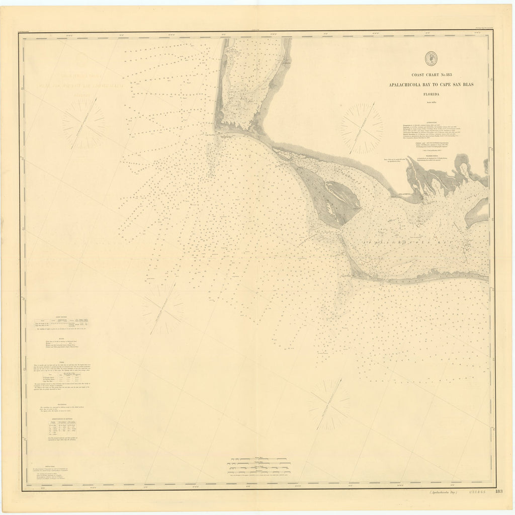 18 x 24 inch 1897 US old nautical map drawing chart of APALACHICOLA BAY TO CAPE SAN BLAS, FLORIDA From  US Coast & Geodetic Survey x2489