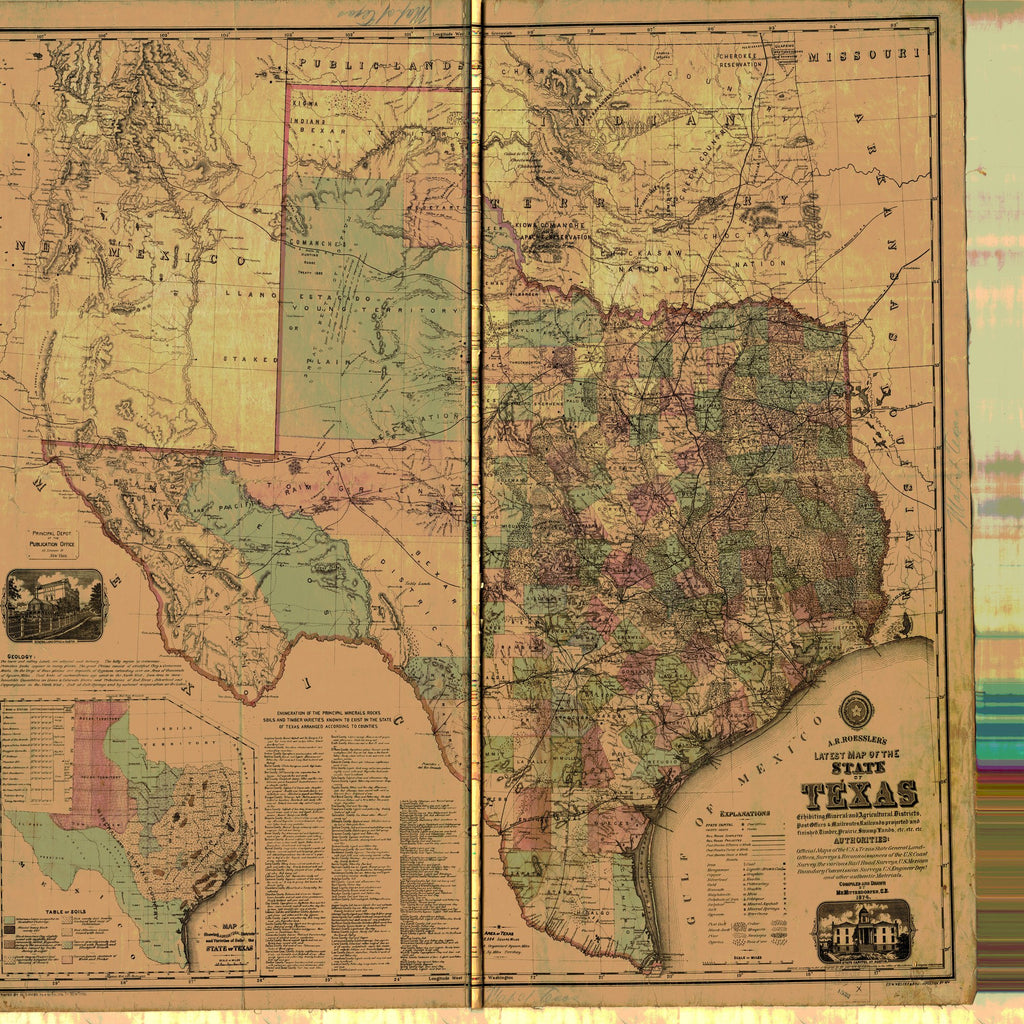 18 x 24 inch 1874 Texas old nautical map drawing chart of State of Texas From  A.R. Roessler x11742