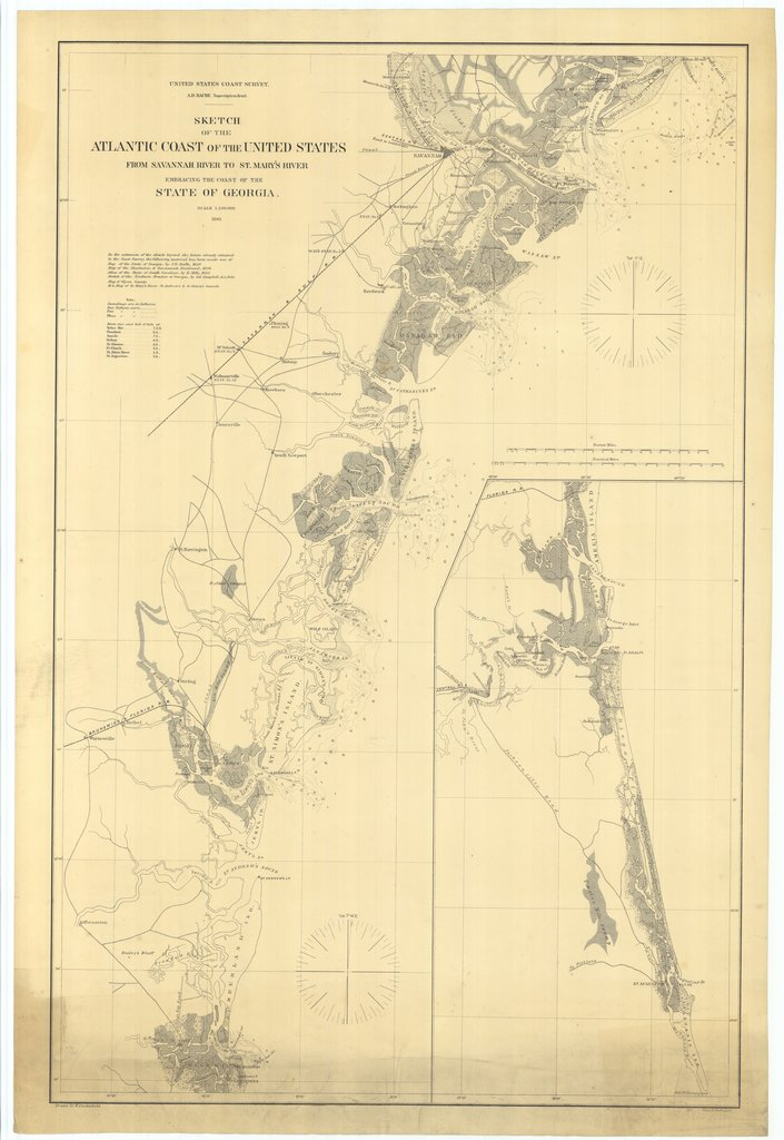 18 x 24 inch 1861 US old nautical map drawing chart of Sketch of the Atlantic Coast of the United States From Savannah River to St. Marys River From  U.S. Coast Survey x615