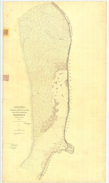 18 x 24 inch 1897 US old nautical map drawing chart of Polovina, Polovina Cliffs and Little Polovina Rookeries St. Paul Island From  US Coast & Geodetic Survey x219