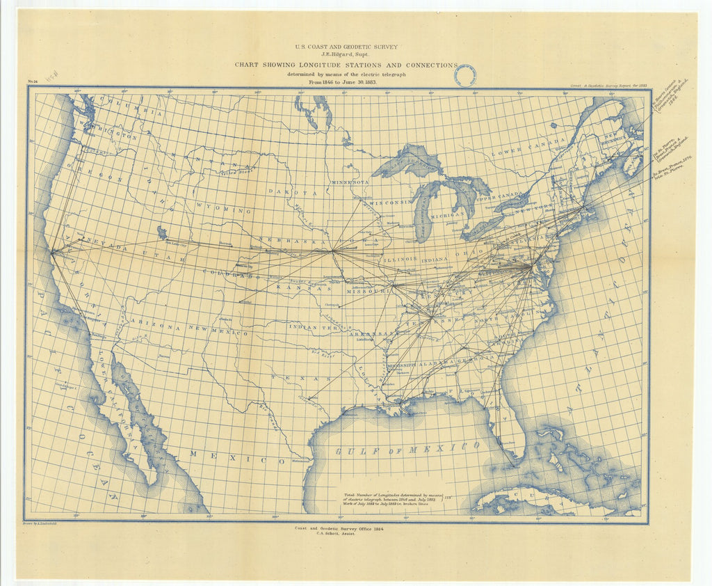 18 x 24 inch 1883 US old nautical map drawing chart of Chart Showing Longitude Stations and Connections Determined by Means of the Electric Telegraph from 1846 to June 30, 1883 From  US Coast & Geodetic Survey x910