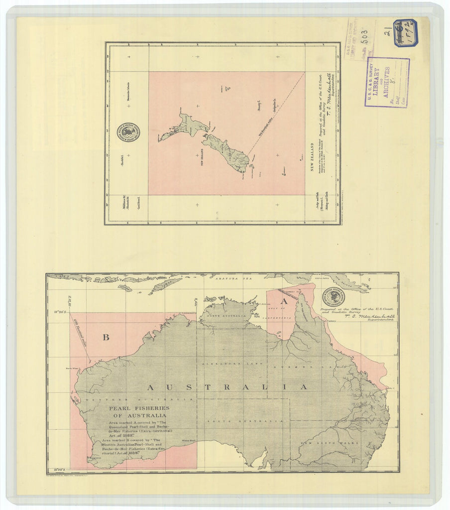 18 x 24 inch 1892 WORLD old nautical map drawing chart of World Fisheries - New Zealand and Pearl Fisheries of Australia From  US Coast & Geodetic Survey x11819