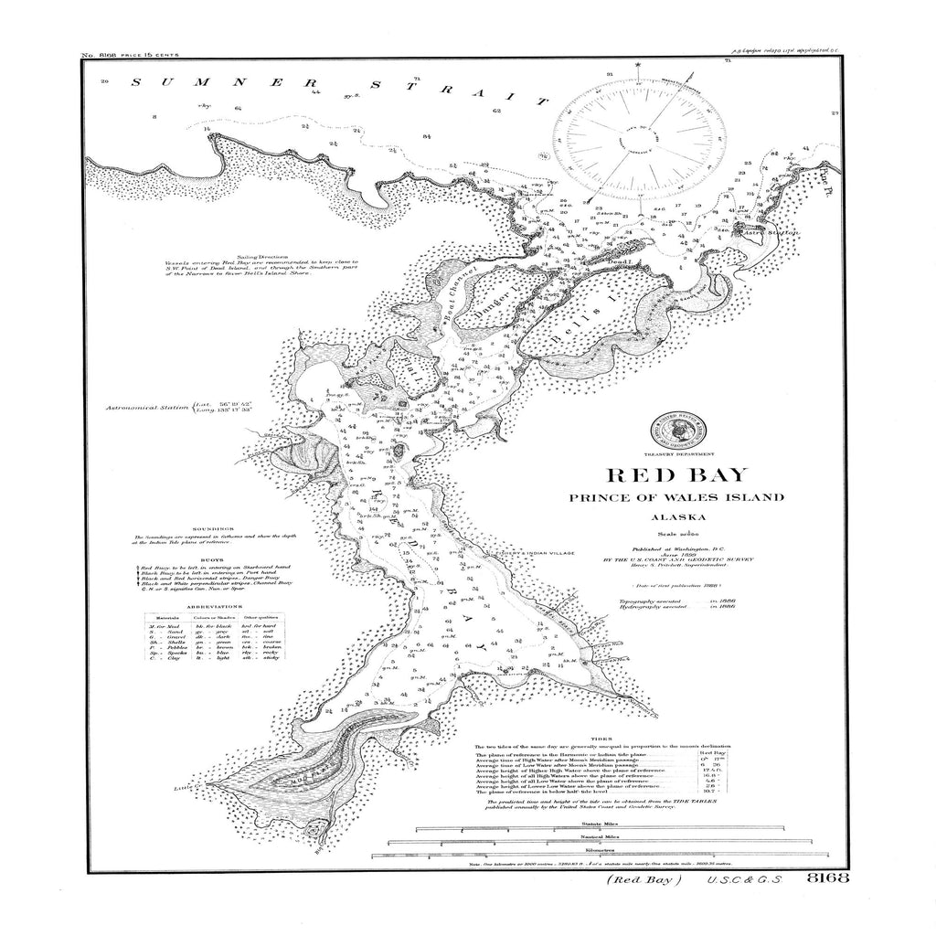 18 x 24 inch 1899 US old nautical map drawing chart of Red Bay : Prince of Wales Island From  US Coast & Geodetic Survey x864