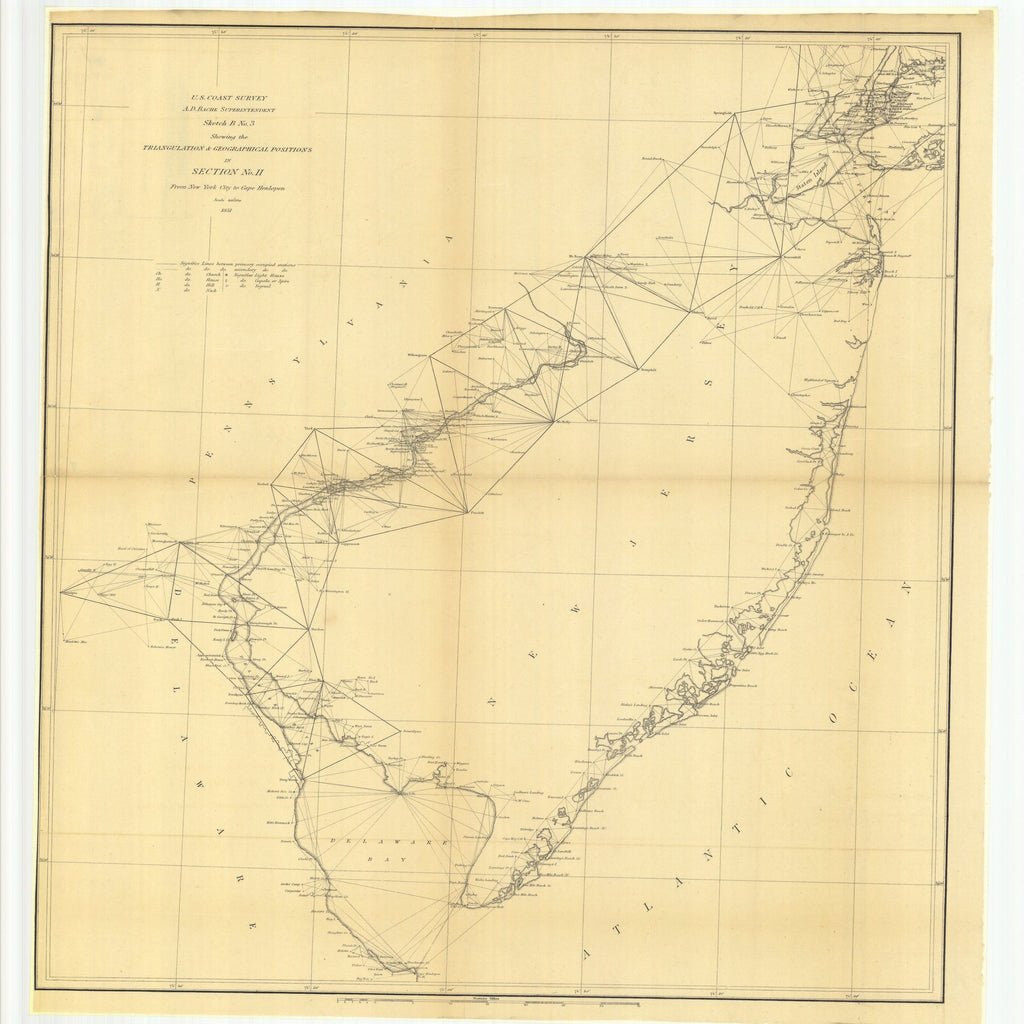 18 x 24 inch 1851 New Jersey old nautical map drawing chart of Sketch B Number 3 Showing the Triangulation and Geographical Positions in Section Number 2 from New York City to Cape Henlopen From  U.S. Coast Survey x6660