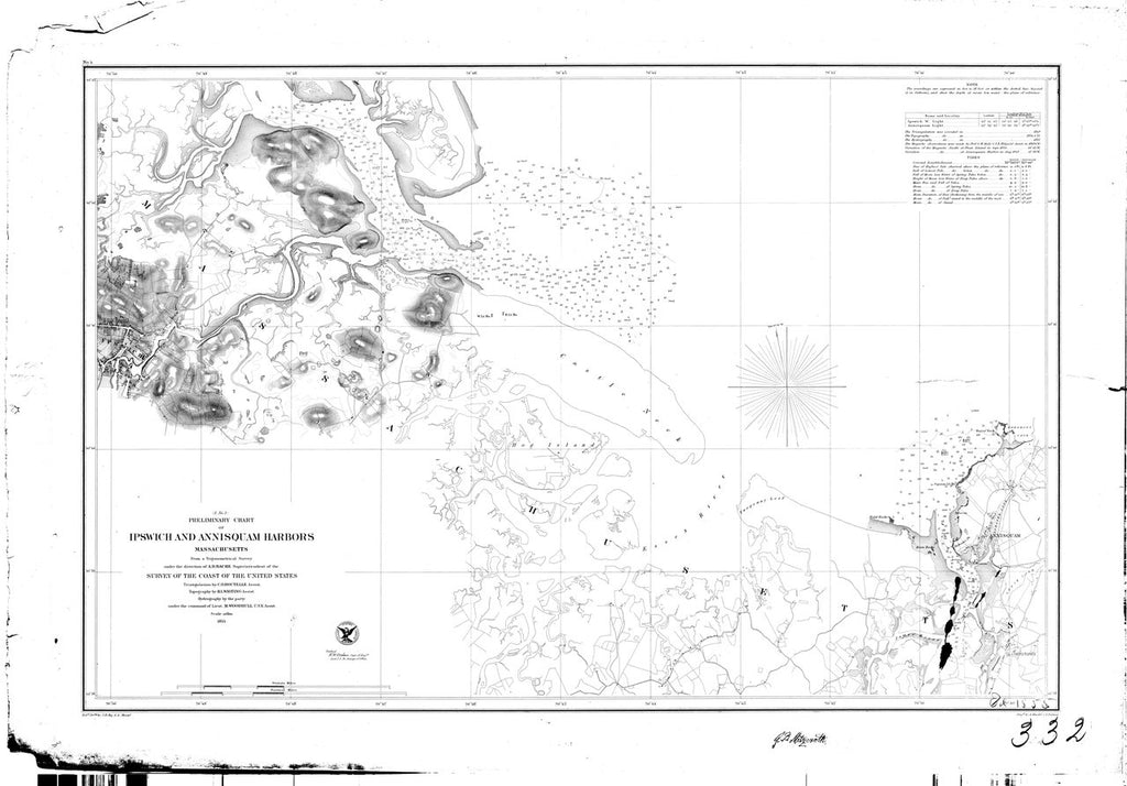 18 x 24 inch 1855 US old nautical map drawing chart of Ippswich and Annisquam Harbors From  U.S. Coast Survey x2716