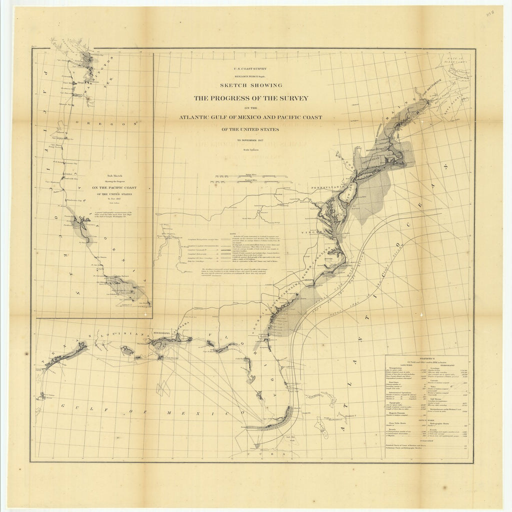 18 x 24 inch 1867 US old nautical map drawing chart of Sketch Showing the Progress of the Survey on the Atlantic Gulf of Mexico and Pacific Coast of the United States to November 1867.. From  U.S. Coast Survey x2264
