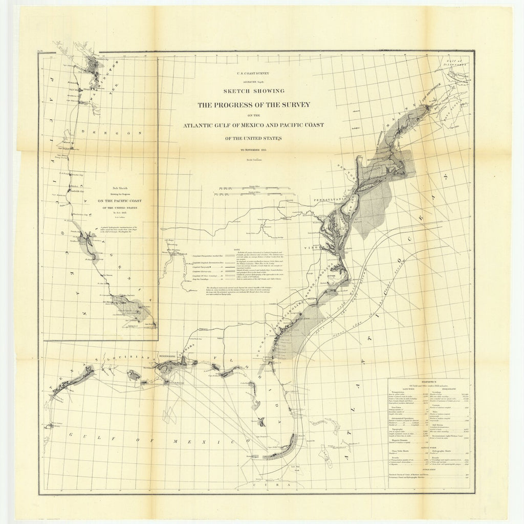 18 x 24 inch 1865 US old nautical map drawing chart of Sketch Showing the Progress of the Survey on the Atlantic Gulf of Mexico and Pacific Coast of the United States, to November 1865É From  U.S. Coast Survey x2262