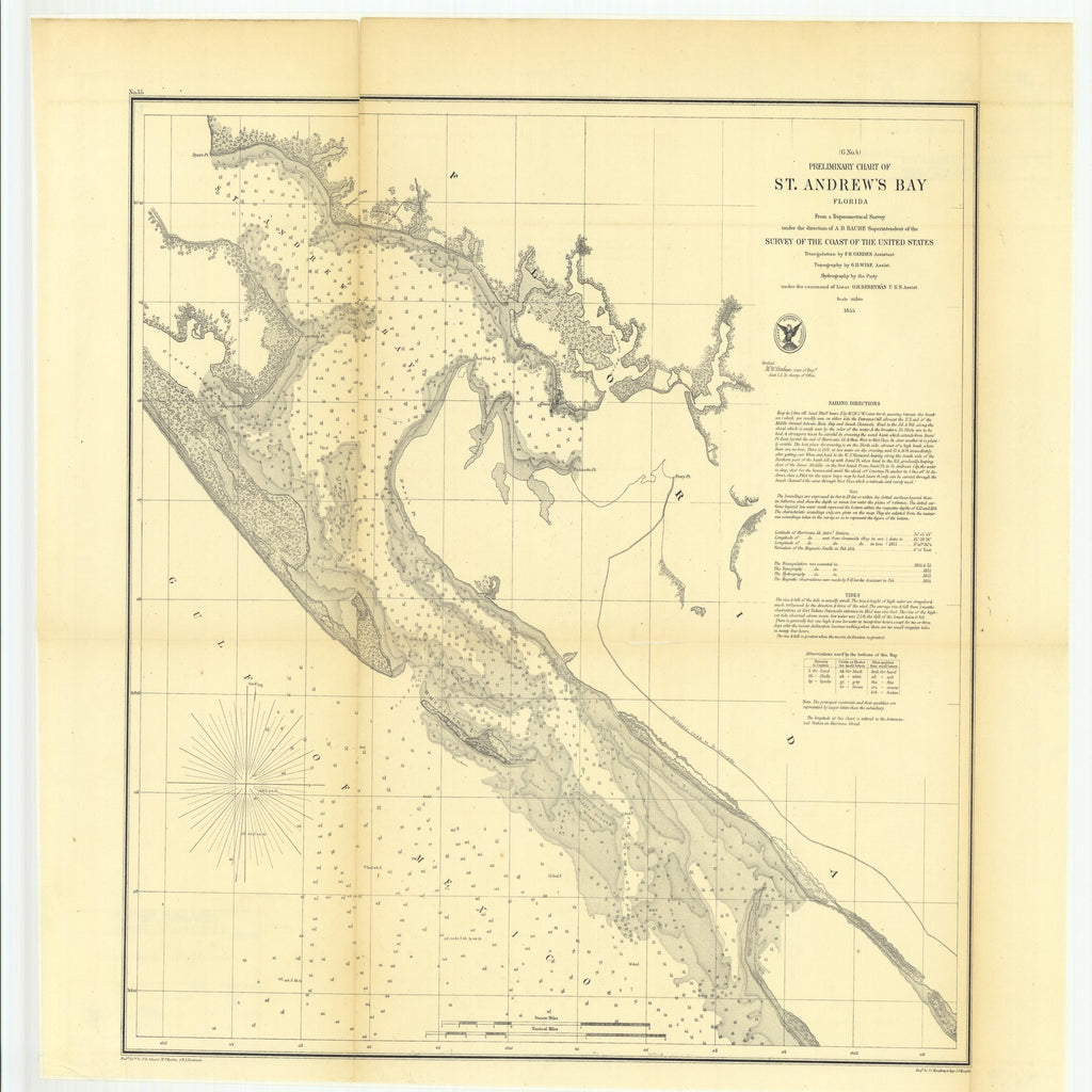 18 x 24 inch 1855 US old nautical map drawing chart of Preliminary Chart of Saint Andrew's Bay, Florida From  U.S. Coast Survey x1371