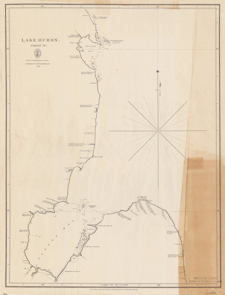 18 x 24 inch 1828 US old nautical map drawing chart of LAKE HURON From  Lake Survey x4185